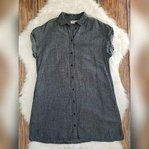 Madewell Linen Blend Chambray Shirtdress Pocket XS